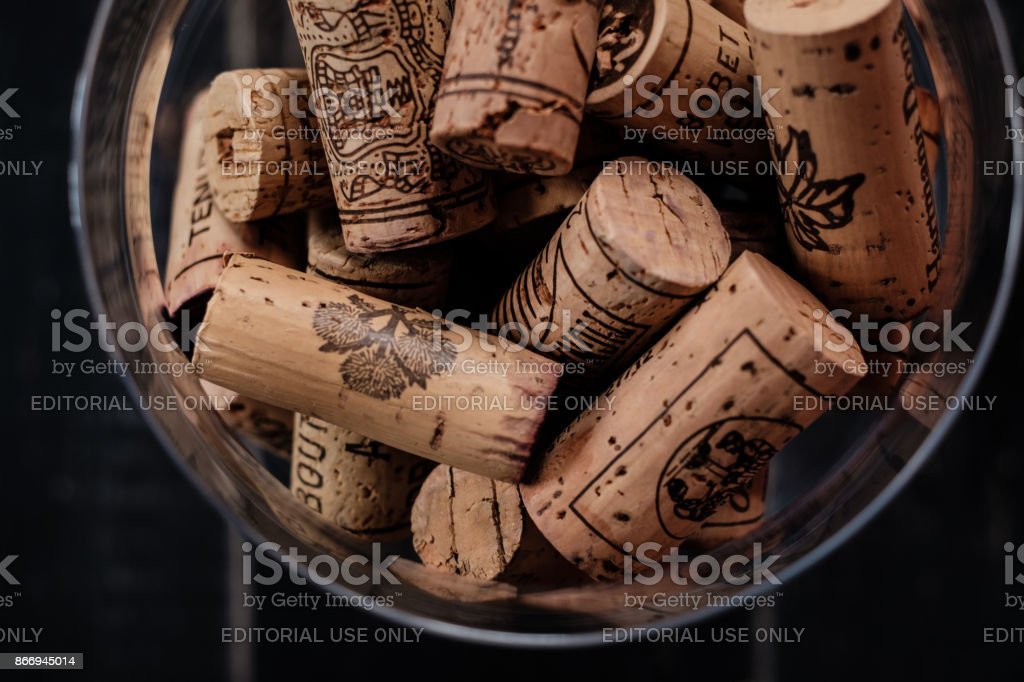 wine corks with brand names and logos. stock photo