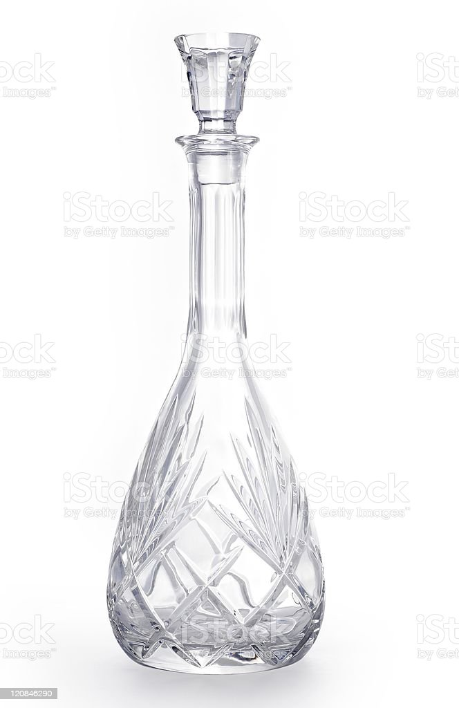 wine crystal carafe isolate on white with clipping path stock photo