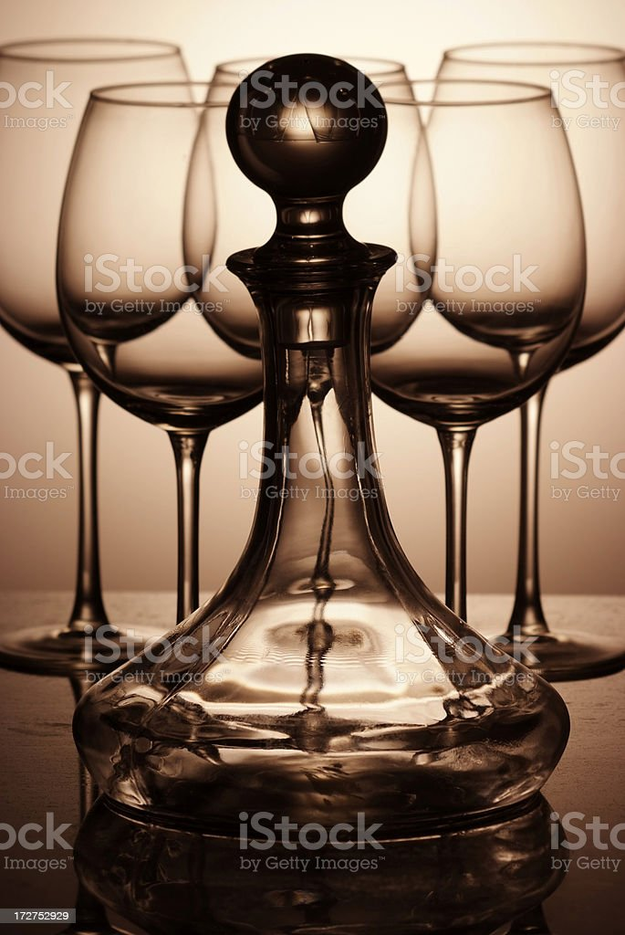 wine decanter bottle with glasses royalty-free stock photo