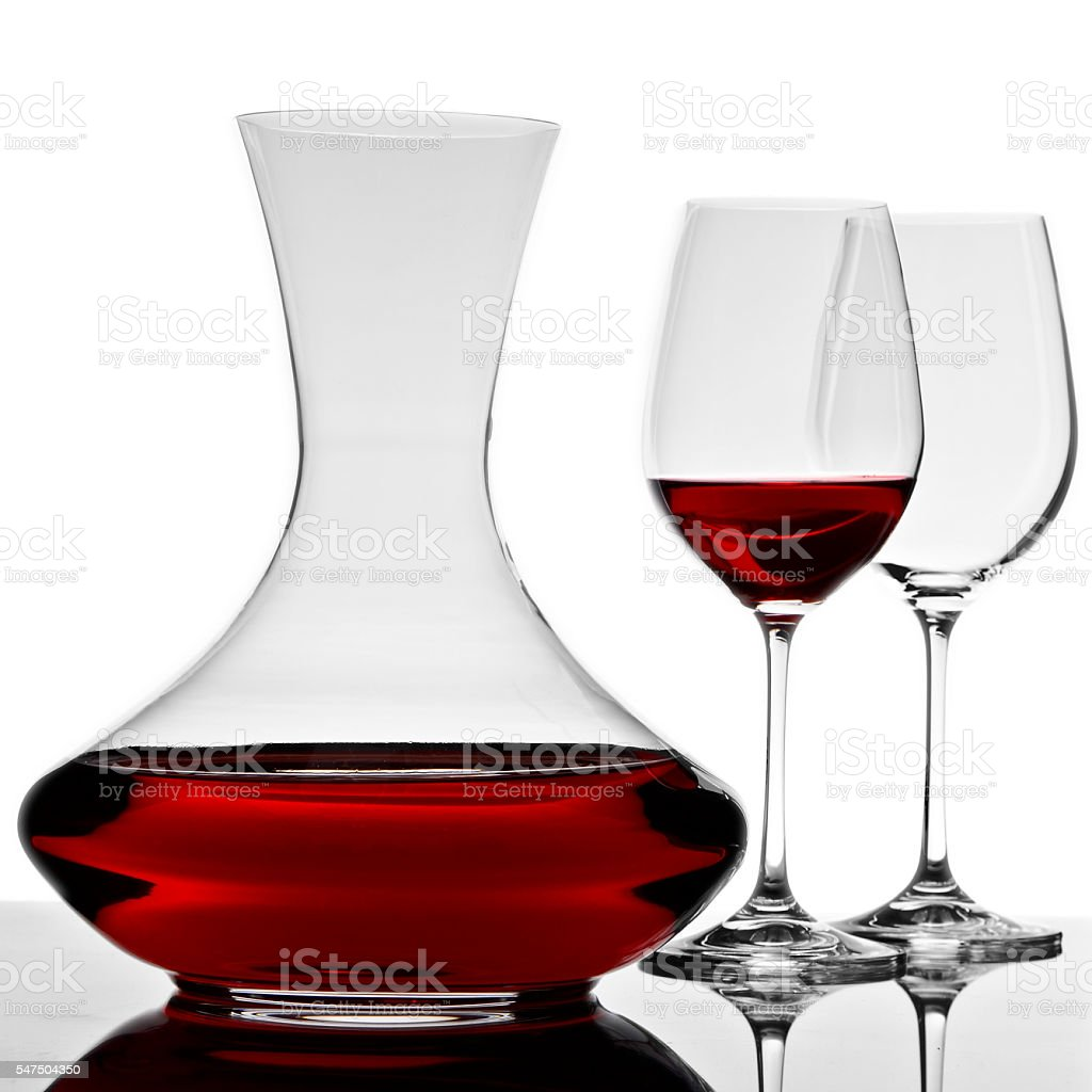 wine decanter with glasses stock photo
