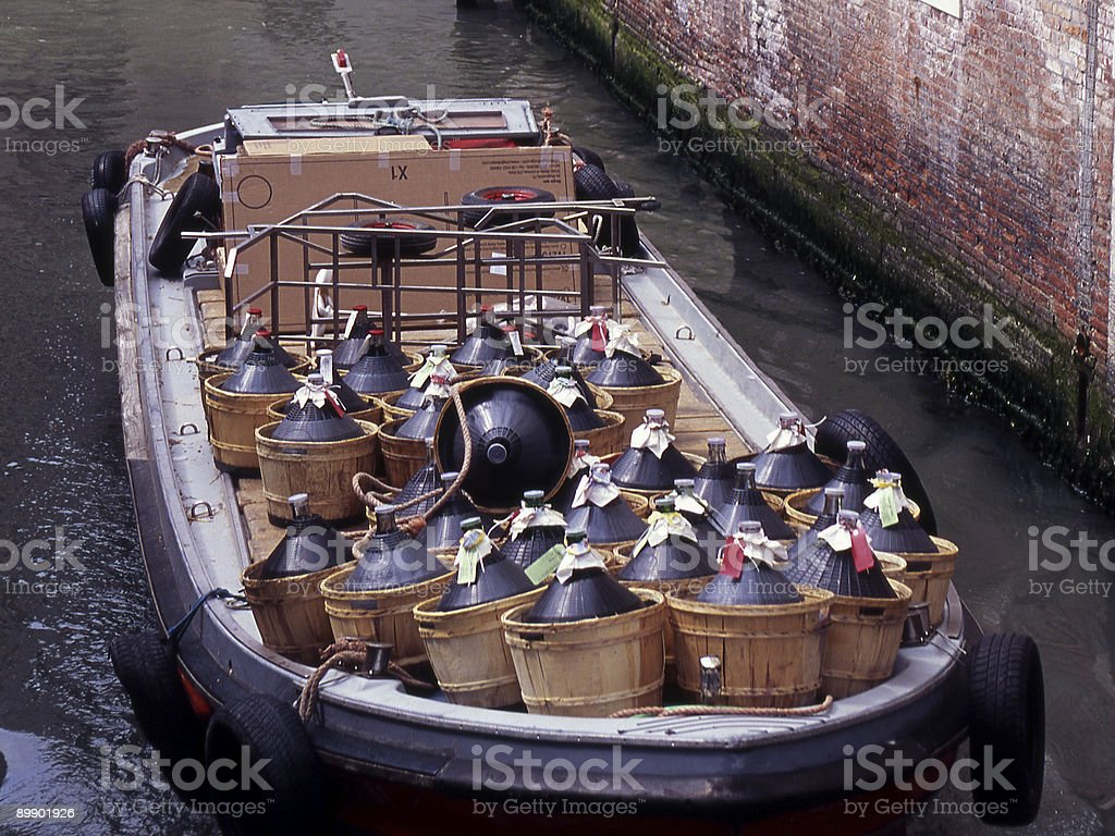 Wine Delivery Barge in Venice Italy royalty-free stock photo