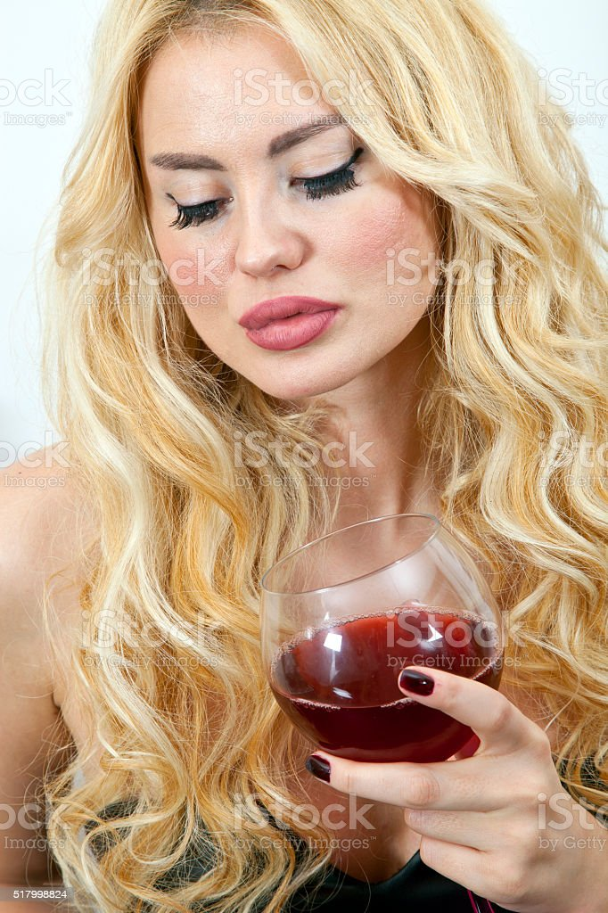 Wine Drinking Sexy Models stock photo