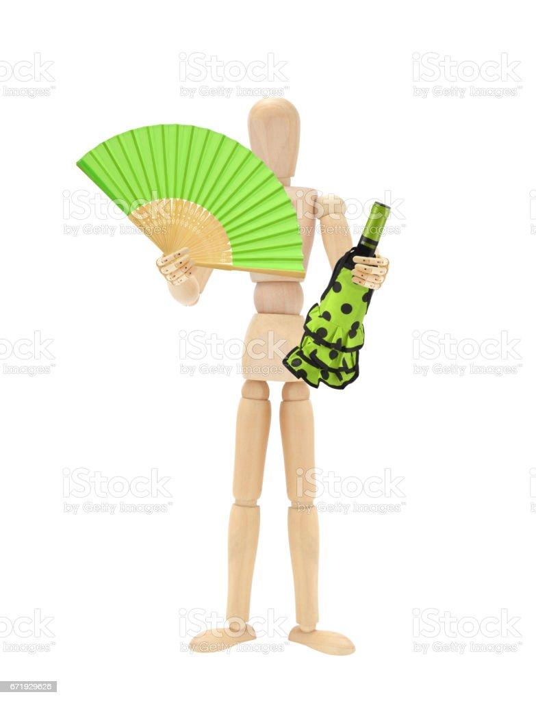 Wine Fan Wood Mannequin stock photo