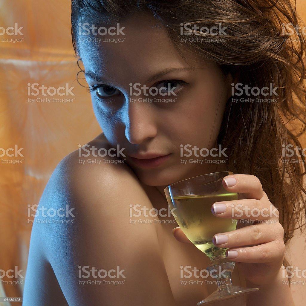 wine girl royalty-free stock photo