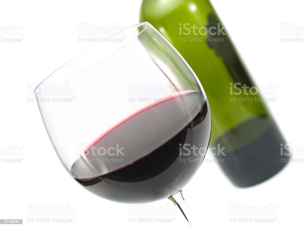 Wine Glass and a Bottle royalty-free stock photo