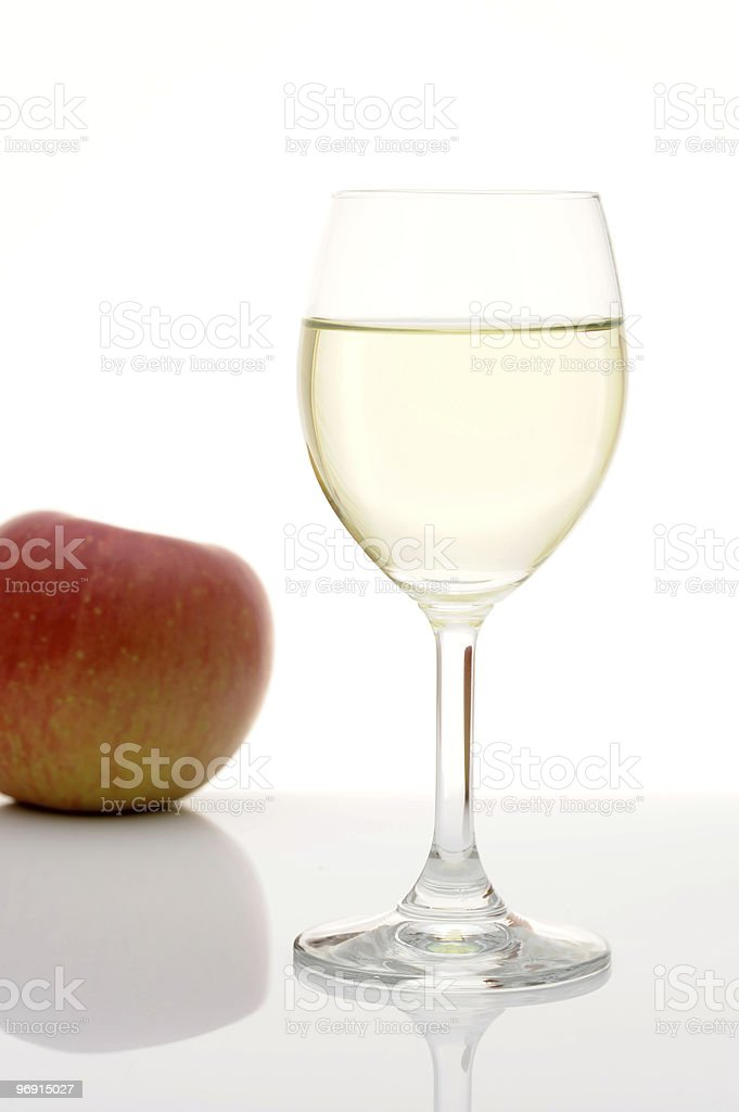 Wine glass and apple royalty-free stock photo