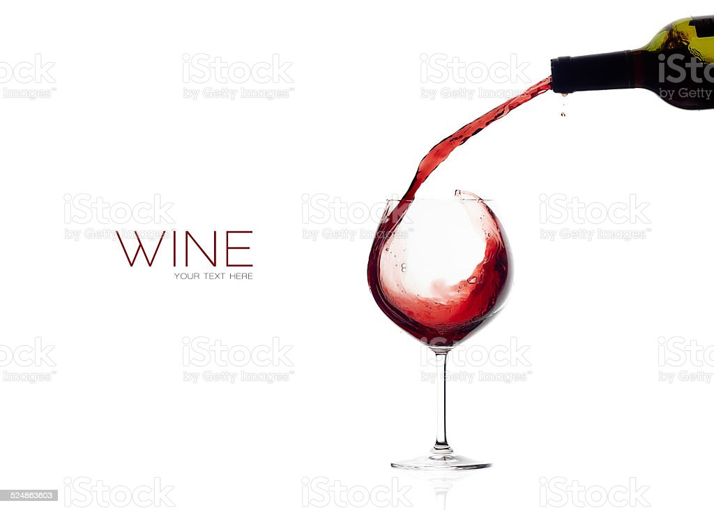 Wine. Glass and Bottle. Red Wine Splash stock photo
