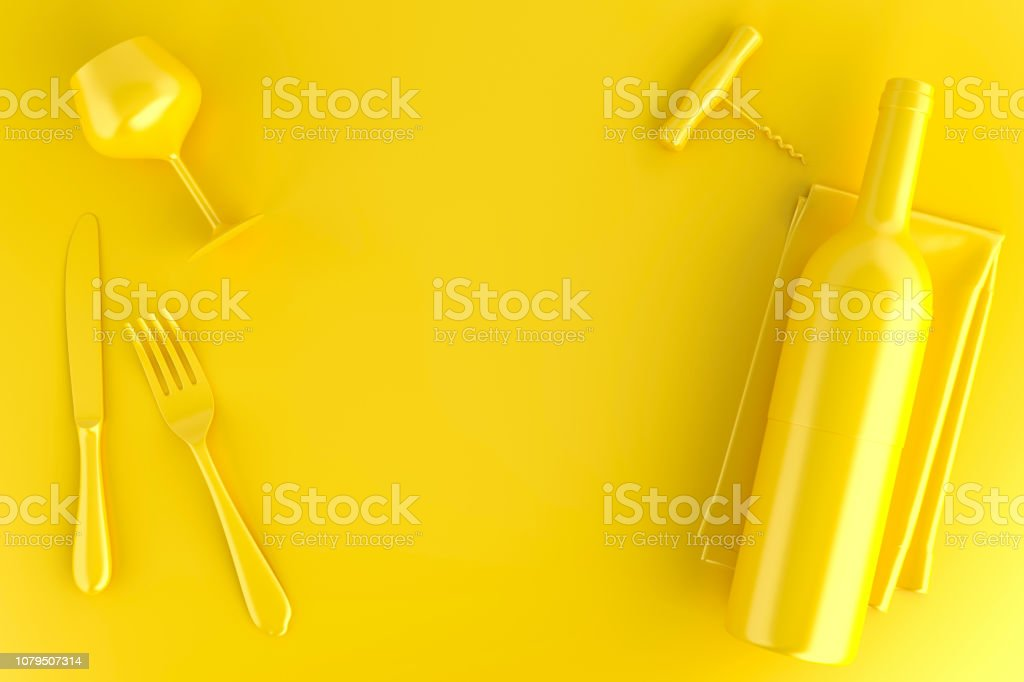 Wine, glass and corkscrew. Top view. 3D illustration stock photo