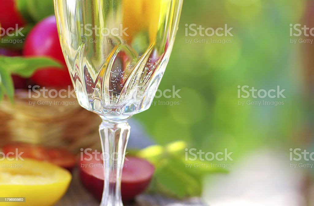 Wine glass  and fruits royalty-free stock photo