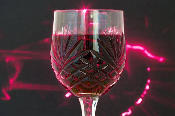 Wine Glass and Lights stock photo