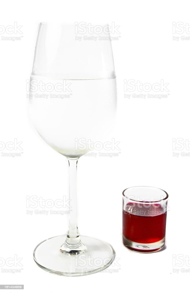 wine glass and red water royalty-free stock photo