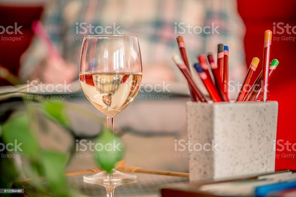Wine Glass and Senior Man Coloring Book at Home,  Europe stock photo