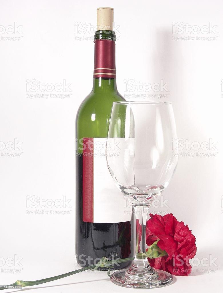 Wine Glass Bottle Flower royalty-free stock photo