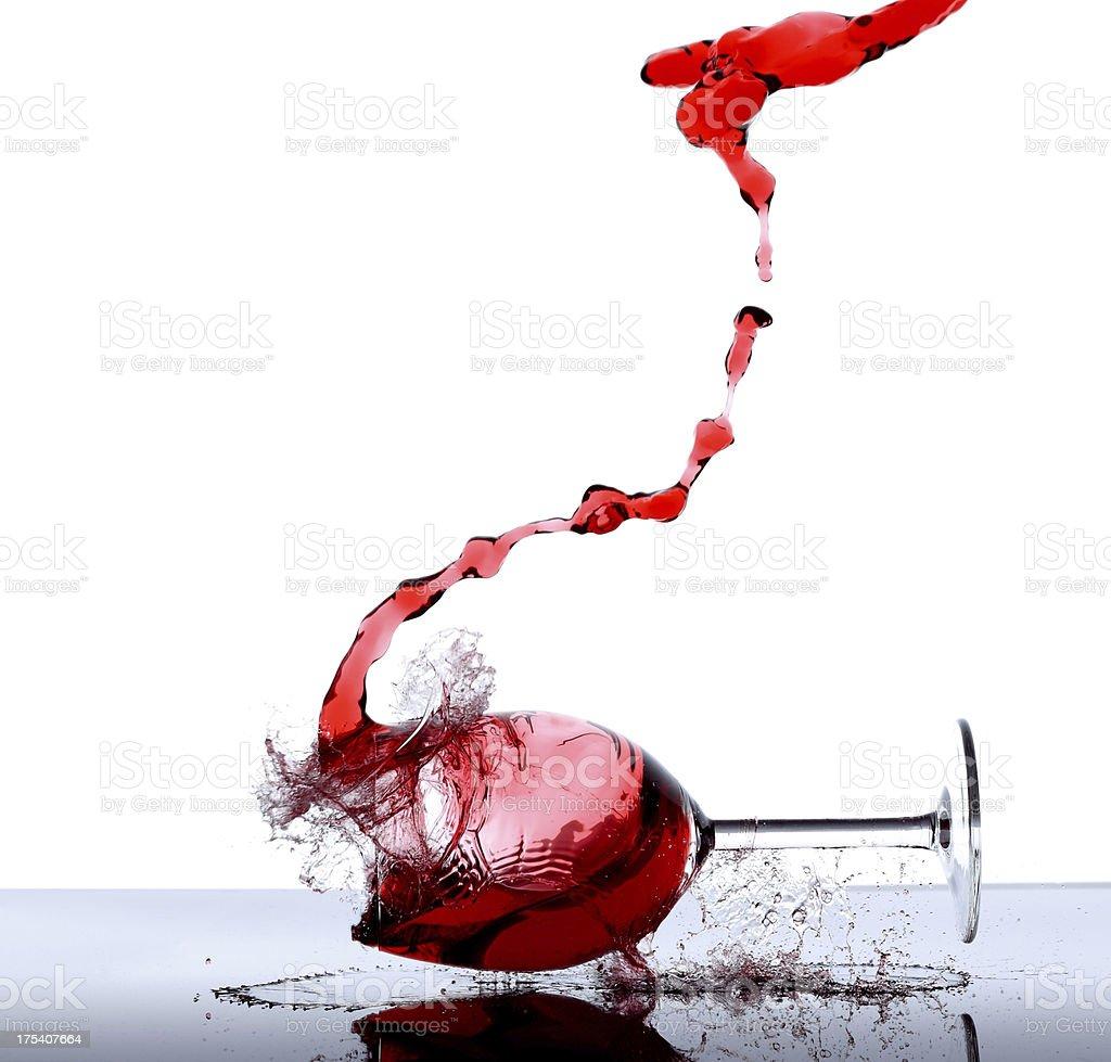 Wine glass breaking stock photo