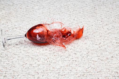 istock Wine Glass Falls onto Carpet 174990808