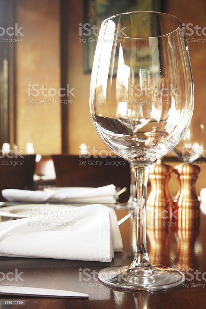 Wine Glass Fine Dining Restaurant stock photo