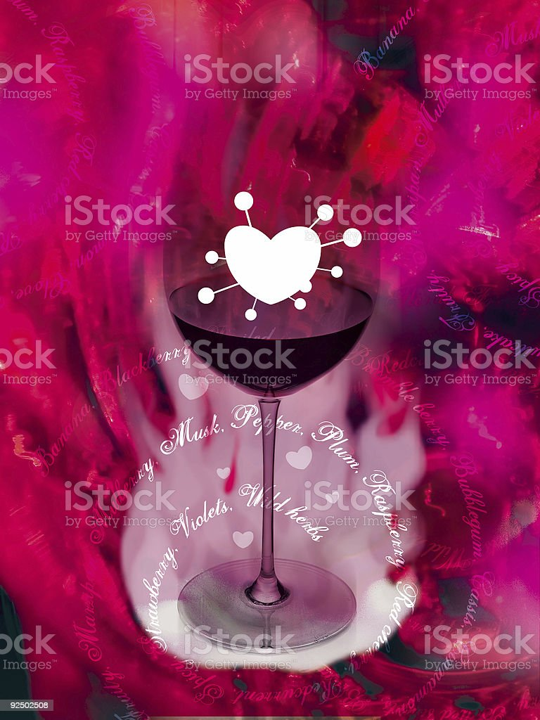 wine glass heart shape in pink royalty-free stock photo