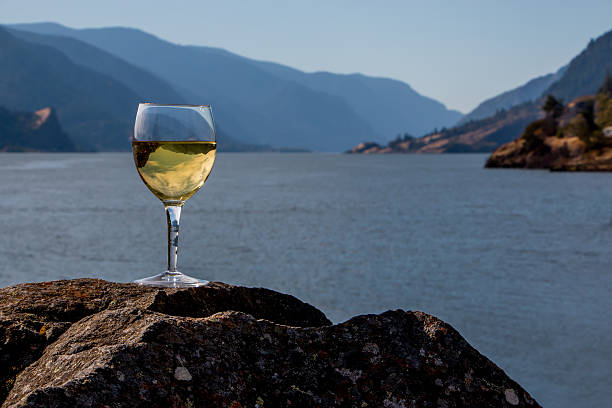 Wine Glass Inverted Columbia River Gorge Cascade Mountains Washington Oregon stock photo