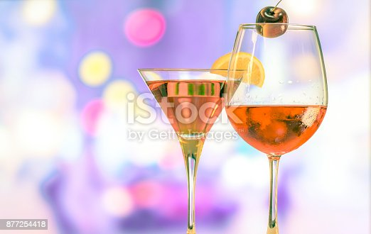 istock Wine glass on the circle light bokeh background with vintage style 877254418