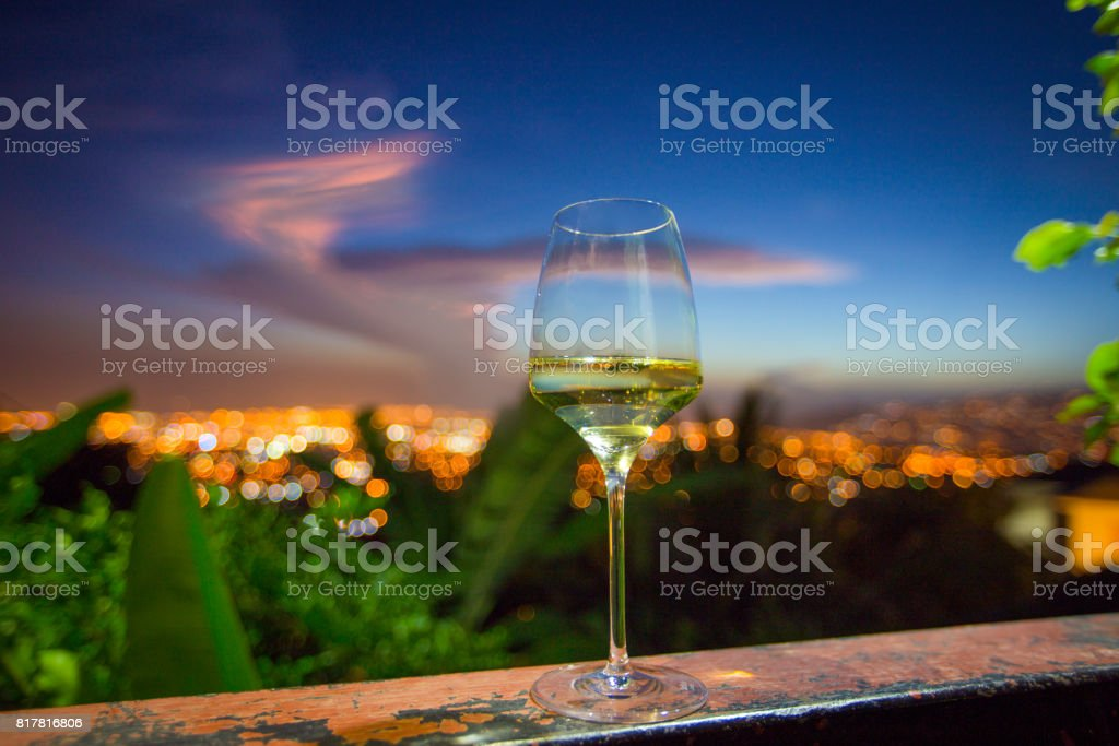 Wine Glass with a View of the City Lights stock photo