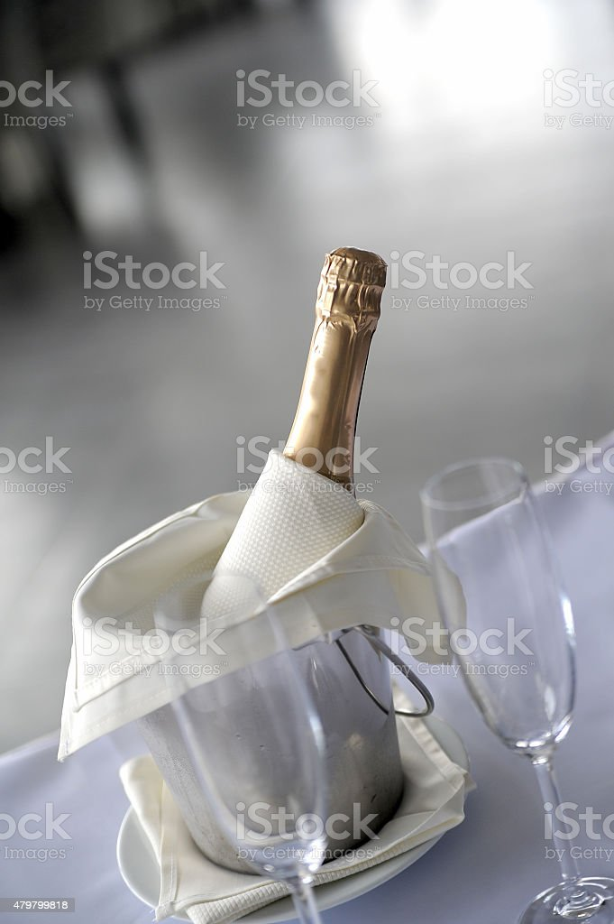 Wine glasses and Champagne stock photo