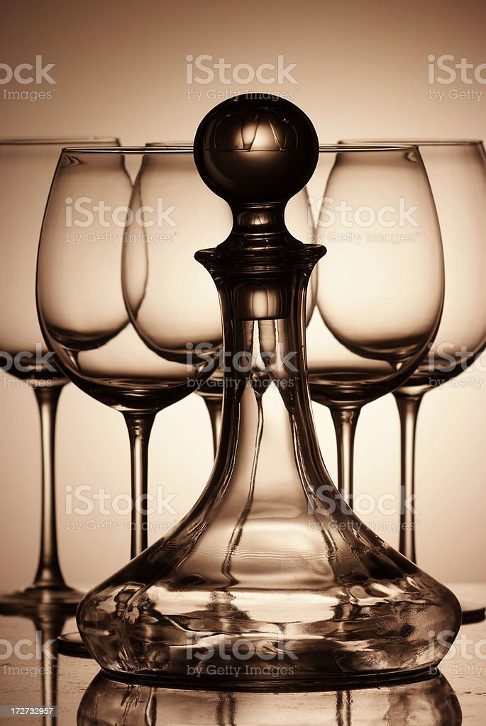 Wine glasses and decanter royalty-free stock photo
