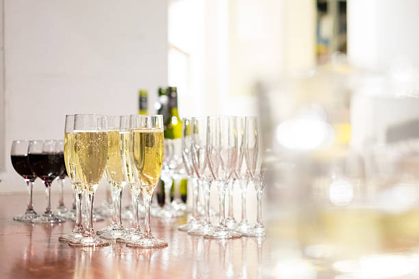 Wine glasses at a function Wine glasses ready for service at a function apostrophe stock pictures, royalty-free photos & images