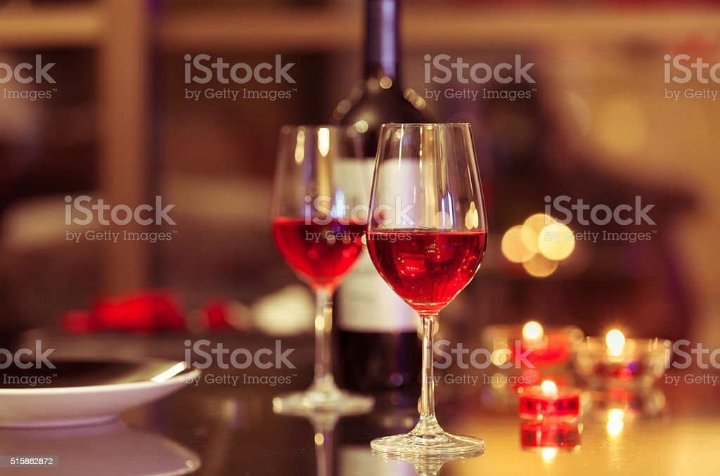Wine glasses in a restaurant stock photo
