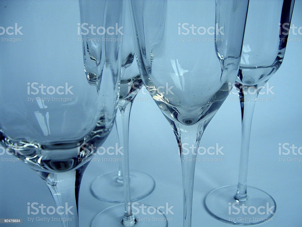 Wine Glasses in blue tones royalty-free stock photo