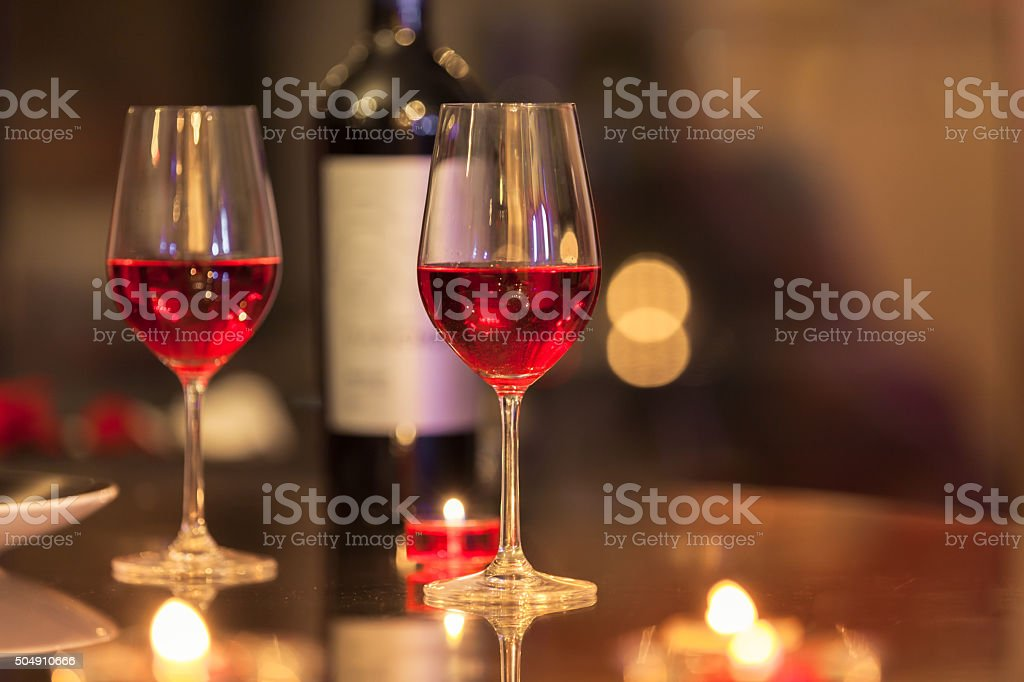 Wine glasses in the restaurant stock photo