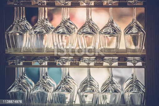 Wine Glasses on Bar Shelfs