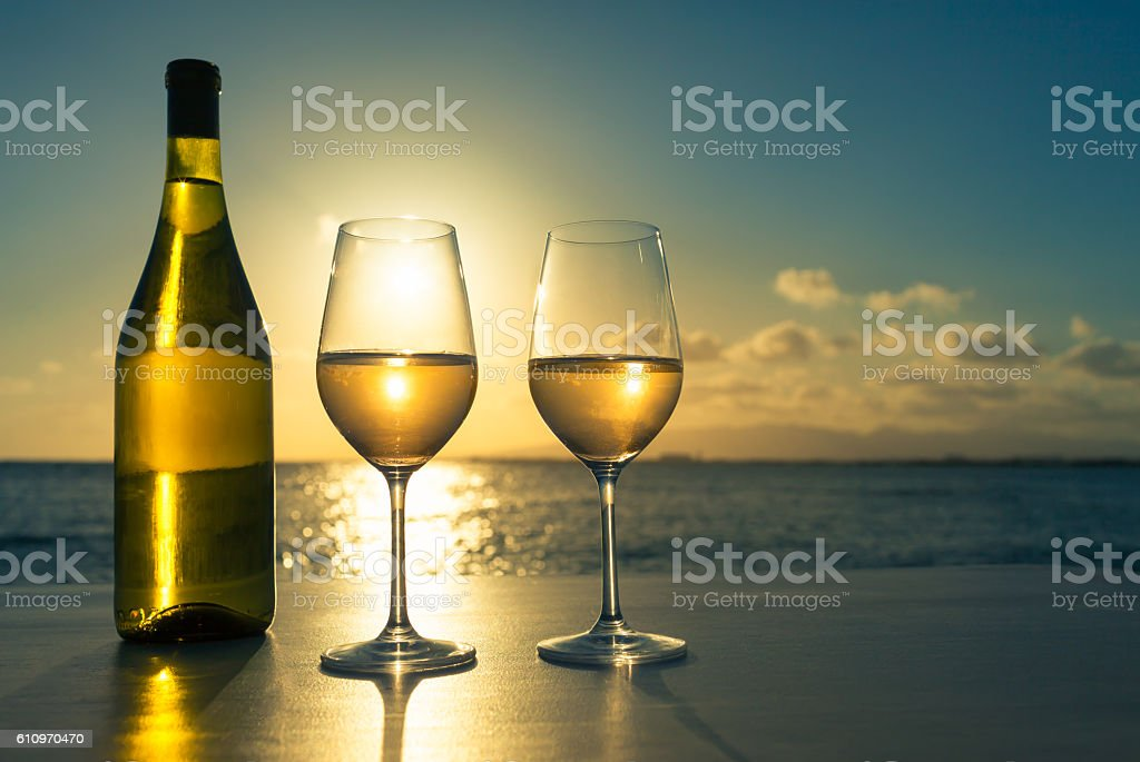 Wine glasses with beautiful view stock photo