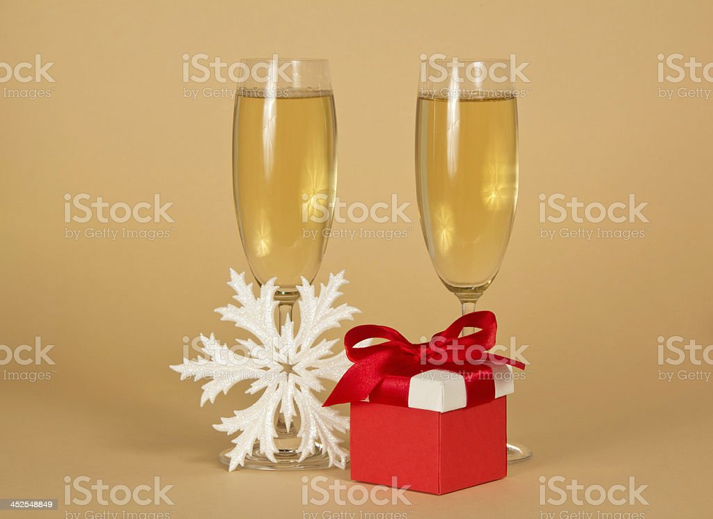 Wine Glasses With Champagne A Red Gift Box Stock Photo Download