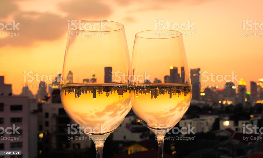 Wine glasses with city view stock photo