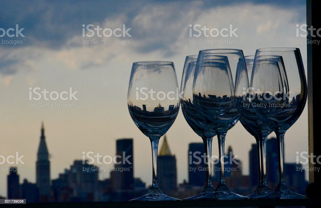 Wine glasses with New York background stock photo