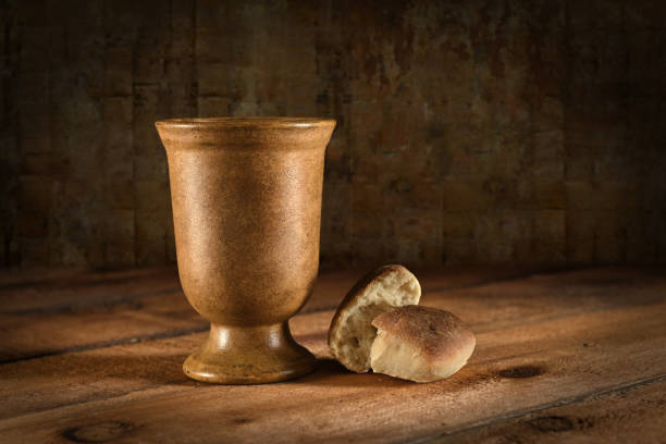 Wine Goblet and Bread stock photo