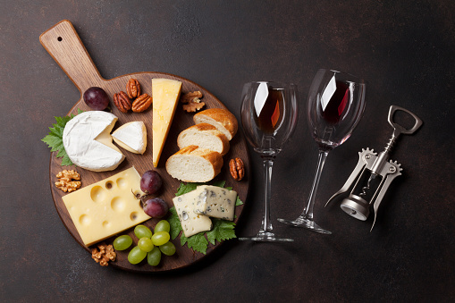 Wine Grape And Cheese Stock Photo - Download Image Now