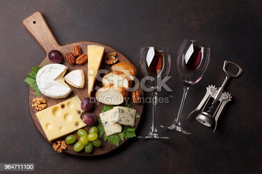 Wine Grape And Cheese Stock Photo & More Pictures of Above