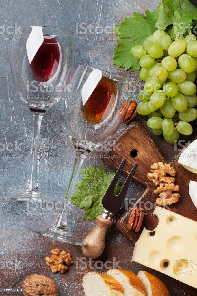 Wine, grape and cheese zbiór zdjęć royalty-free