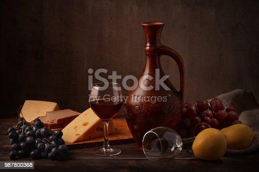 istock Wine, grape and cheese 987800368