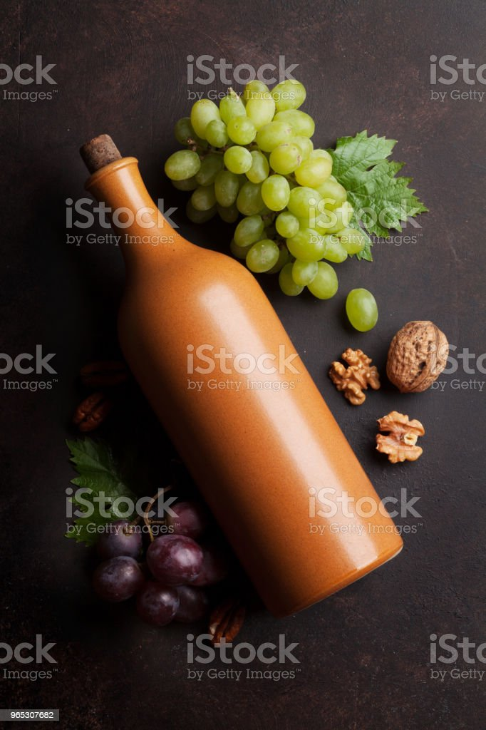 Vin, raisin et noix - Photo de Alcool libre de droits