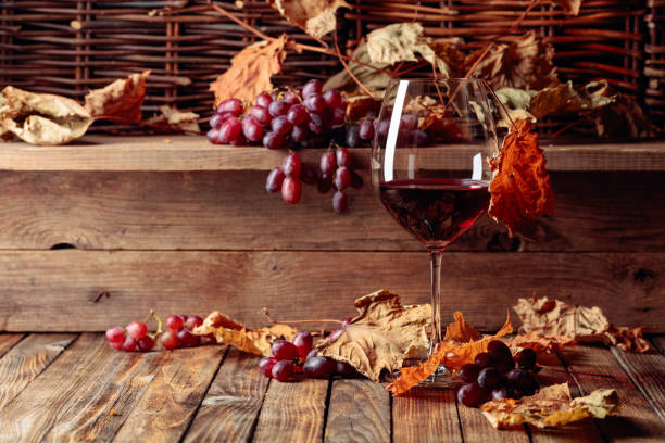 Wine, grapes and dried up vine leaves on a old wooden table. stock photo