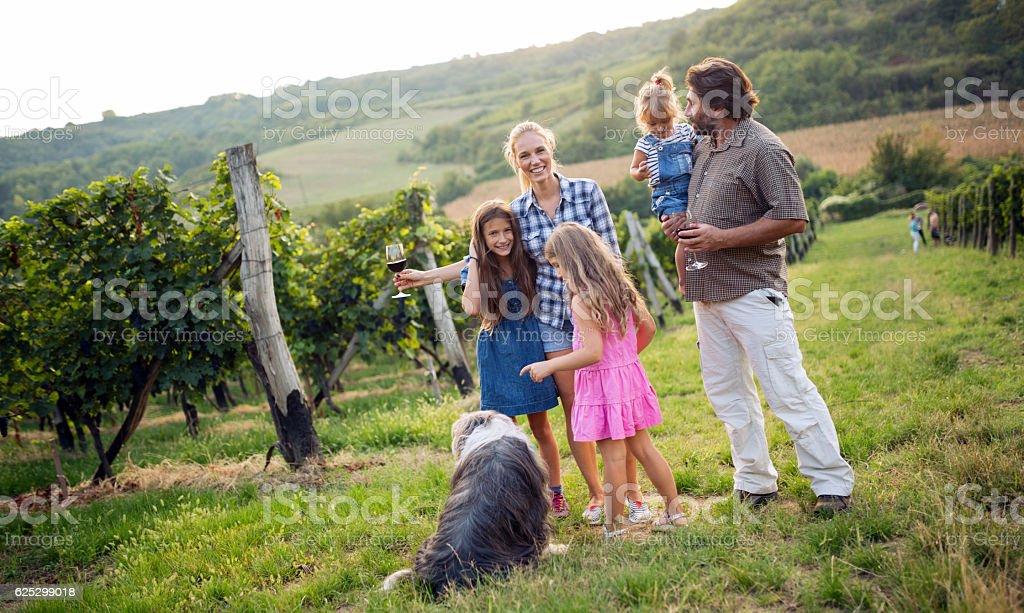 Wine grower family tasting wine stock photo