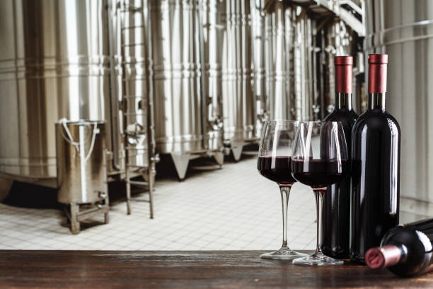 wine in bottles on the background of cisterns with wine at a winery - brewery tanks stock pictures, royalty-free photos & images