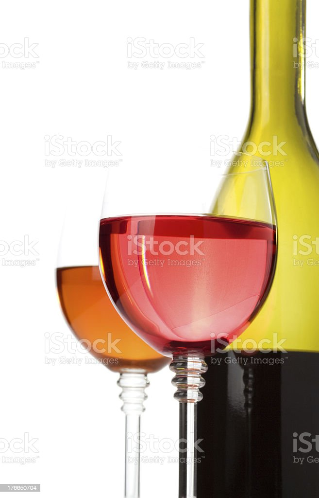 wine in glasses and bottle royalty-free stock photo