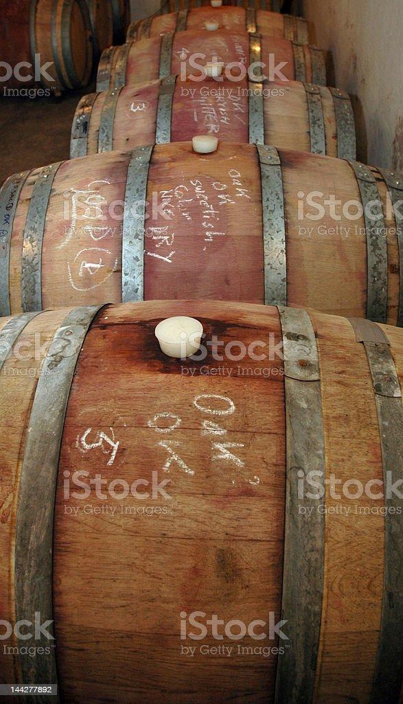 Wine in oak barrels royalty-free stock photo