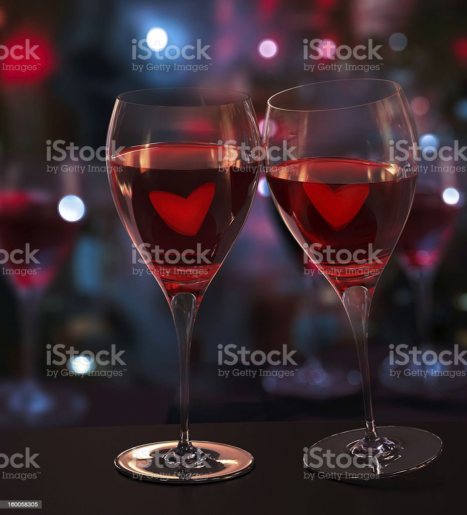 Wine lovers. Toast glasses render, blurred background royalty-free stock photo