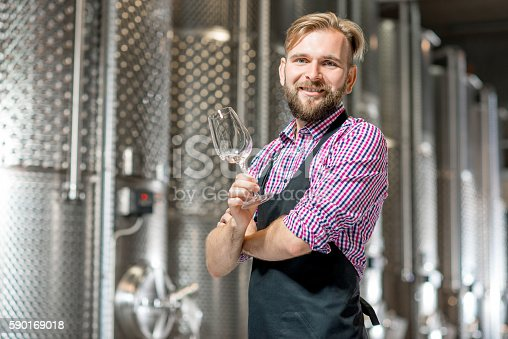 istock Wine maker at the manufacture 590169018