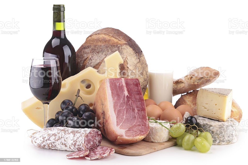 wine, meat and cheese stock photo