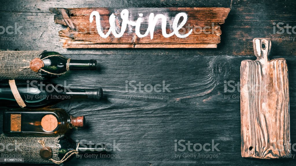 Wine menu black background stock photo